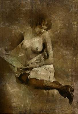 Burlesque Painting - Naked Reading by Mary Bassett