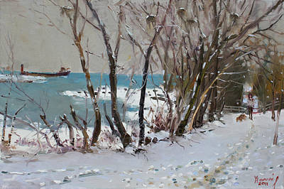 Dog In Snow Painting - Naked Trees By The Lake Shore by Ylli Haruni