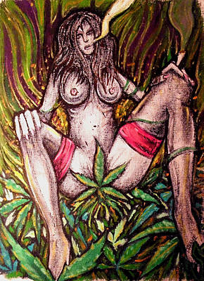 Naked With Green And A Hit Of Pink Art Print by Sam Hane