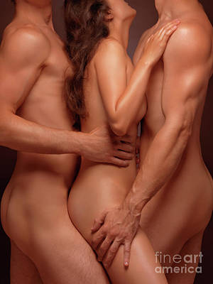 Photograph - Naked Woman And Two Nude Men Sensual Threesome by Oleksiy Maksymenko