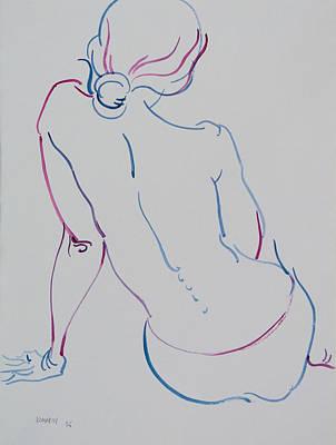 Naked Woman Sitting With Bare Back Art Print by Vitali Komarov
