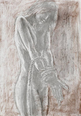 Hostage Drawing - Naked Woman Tied With Rope by Dan Comaniciu