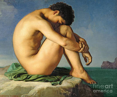 Youth Painting - Naked Young Man Sitting By The Sea, 1836 by Hippolyte Flandrin