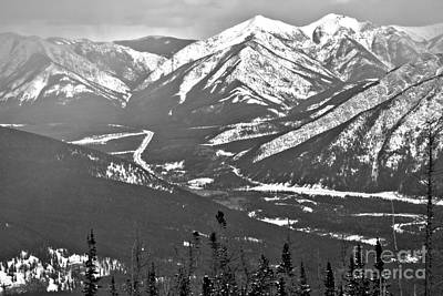 Photograph - Nakiska Resort Mountain Views Black And White by Adam Jewell