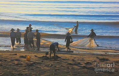 Photograph - Nam Dinh Region Fishermen Start Their Day Vietnam by Chuck Kuhn