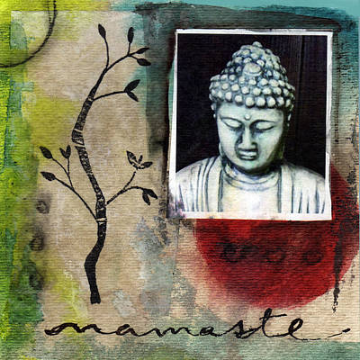 Zen Art Mixed Media - Namaste Buddha by Linda Woods