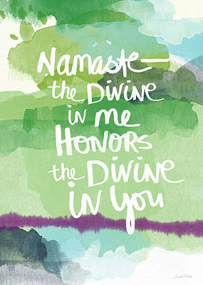 Calligraphy Painting - Namaste- Watercolor Card by Linda Woods