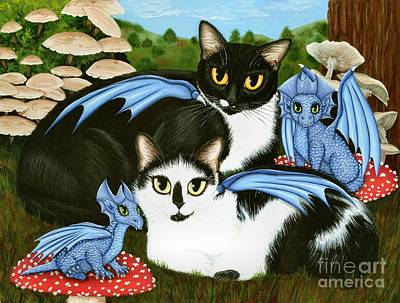 Painting - Nami And Rookia's Dragons - Tuxedo Cats by Carrie Hawks