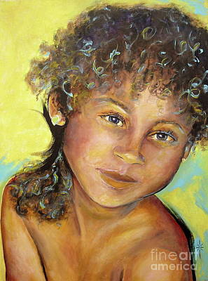 Painting - Nana With Blue And Yellow by Jodie Marie Anne Richardson Traugott          aka jm-ART