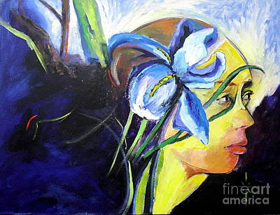 Painting - Nana With Iris by Jodie Marie Anne Richardson Traugott          aka jm-ART