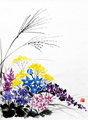 Painting - Nanakusa/ Autumn Seven Sisters by Fumiyo Yoshikawa