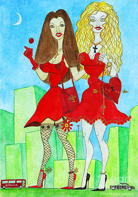 Nancy And Nicole Going Out At Night Art Print by Don Pedro De Gracia