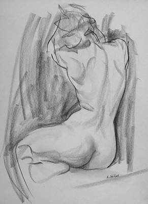 Drawing - Nancy In A Twisting Back Pose by Robert Holden