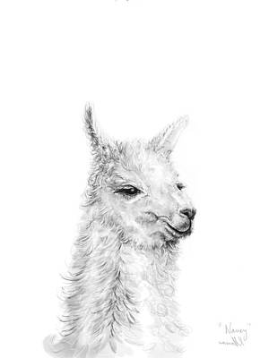 Llama Wall Art - Drawing - Nancy by K Llamas