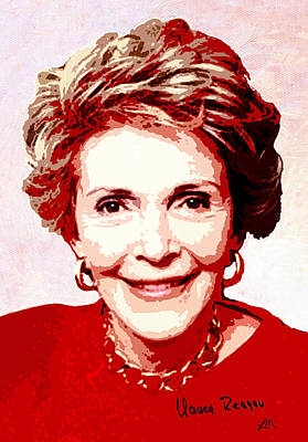 First Lady Digital Art - Nancy Reagan Portrait by Linda Mears