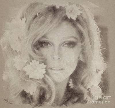Musicians Drawings Rights Managed Images - Nancy Sinatra Royalty-Free Image by Esoterica Art Agency