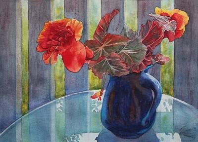 Begonia Garden Painting - Nancy's Begonias by Ruth Kamenev