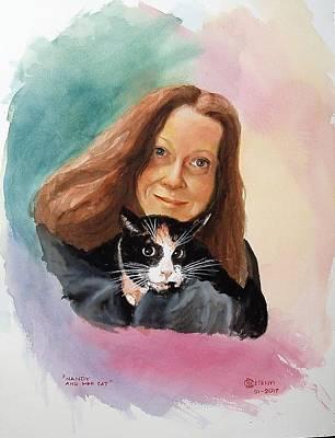 Painting - Nandi And Her Cat by Charles Hetenyi