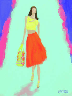 Painting - Nanette Lepore Fashion Illustration by Beverly Brown