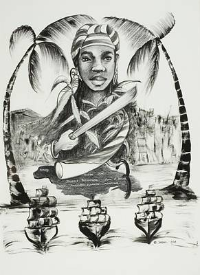Palm Drawing - Nanny Of The Maroons by Ikahl Beckford