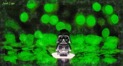 Green Background Digital Art - Nano Darth Vader - Da by Leonardo Digenio