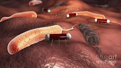 Injections Digital Art - Nanobots Attacking Cholera Virus by Stocktrek Images
