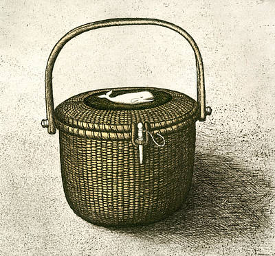 Drawing - Nantucket Basket by Charles Harden