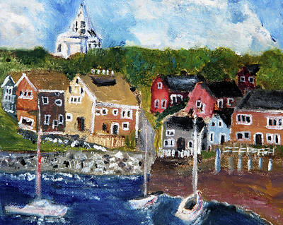 Nantucket Harbor Scene Original by Michael Helfen
