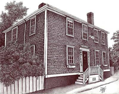Drawing - Nantucket House Portrait--hussey St. by Dan Moran