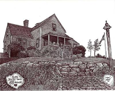 Drawing - Nantucket House Portrait--northwest Island by Dan Moran