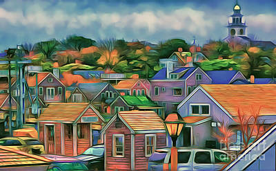 Nantucket Nestles Around The Port Art Print by Jack Torcello