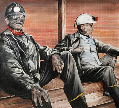 Painting - Nanty Glo Coal Miners by Paul Cubeta