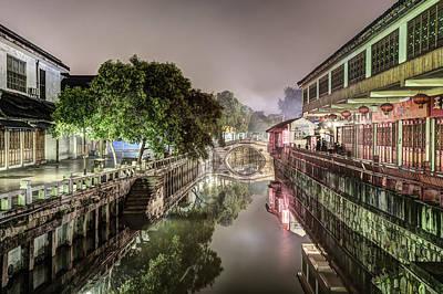Nanxiang Ancient Town At Night Print by Marc Garrido