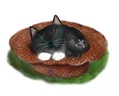 Digital Art - Nap In Straw Hat For Kitty And Mouse by Ellen Miffitt