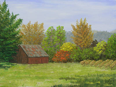 Napa Valley Vineyard Painting - Napa California Barn I by William Williams