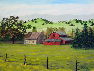 Napa Valley Vineyard Painting - Napa California Barn II by William Williams