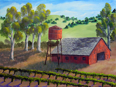 Napa Valley Vineyard Painting - Napa California Barn Iv by William Williams