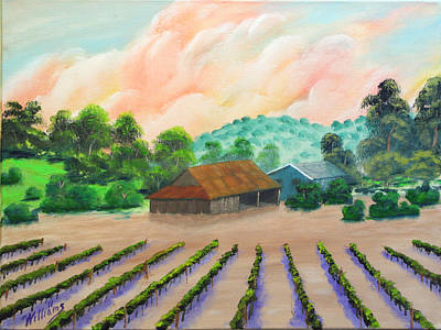 Napa Valley Vineyard Painting - Napa California Barn V by William Williams
