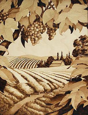 Napa Drawing - Napa Harvest by Cate McCauley