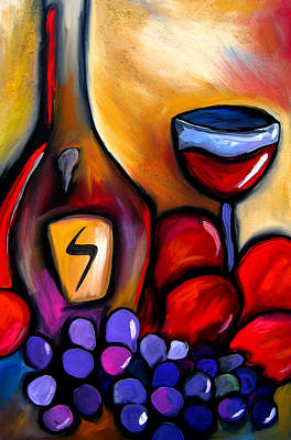 Napa Mix - Abstract Wine Art By Fidostudio Art Print by Tom Fedro - Fidostudio