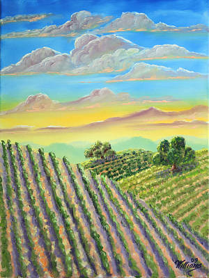 Napa Valley Vineyard Painting - Napa Sunrise After Storm by William Williams