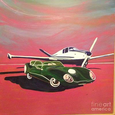 Beechcraft Bonanza Painting - Napa Valley Lotus And Bonanza Beechcraft by Rebecca Lou Mudd