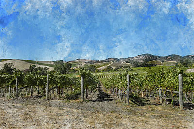 Soil Digital Art - Napa Valley Vineyard Landscape by Brandon Bourdages