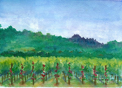 Painting - Napa Valley Vineyard Roses by Cathie Richardson