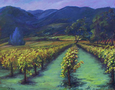 California Vineyard Painting - Napa Valley Vineyards Down Silverado By Deirdre Shibano by Deirdre Shibano