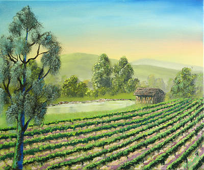 Napa Valley Vineyard Painting - Napa Vineyard Pond by William Williams
