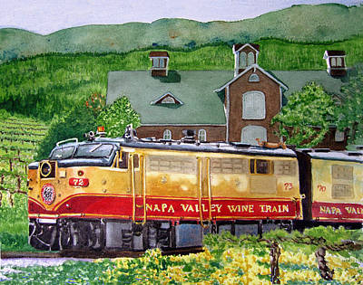 Caboose Painting - Napa Wine Train by Gail Chandler