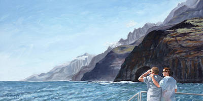 Painting - Napali Coast Cruise by Mary Giacomini