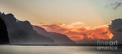 Photograph - Napali Coast Kauai Hawaii Panoramic Sunset by Dustin K Ryan