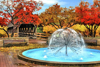 Painting - Naperville Dandelion Fountain by Christopher Arndt